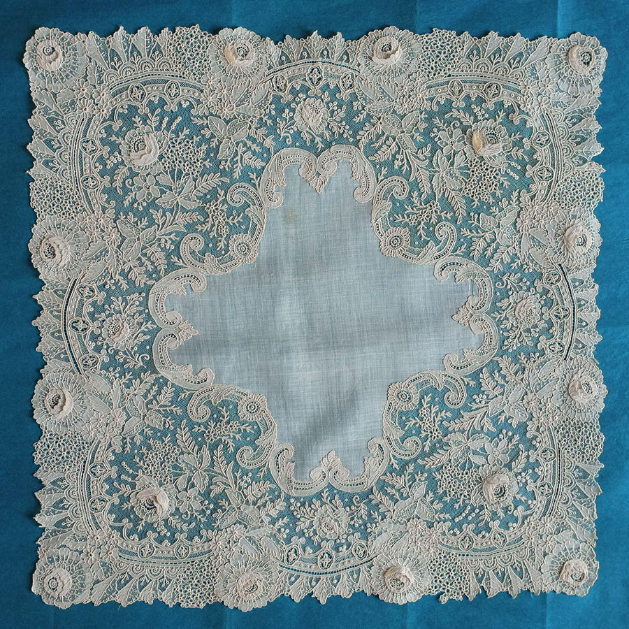 19th Century Brussels Point de Gaze Lace Handkerchief
