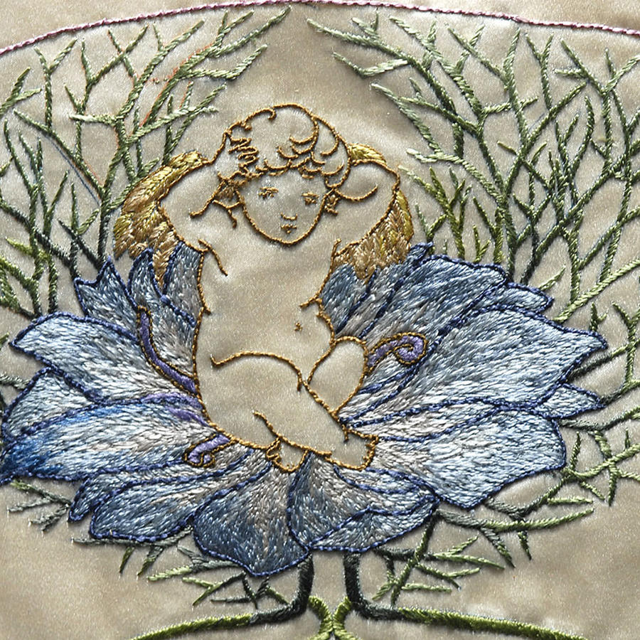 Art Nouveau Embroidered Fan Leaf