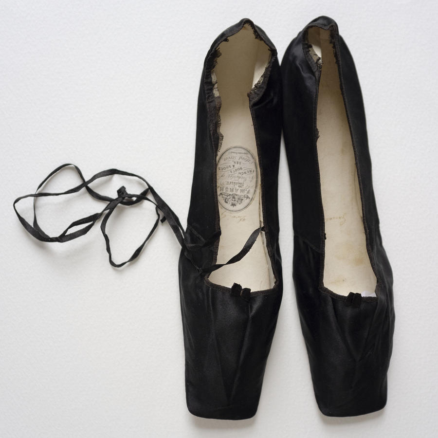 F. Marsh Black Silk Pumps Circa 1830