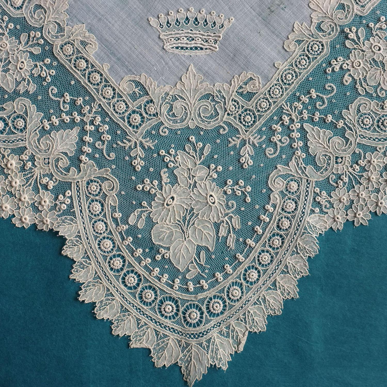 Brussels Point de Gaze Lace Handkerchief with Coronet
