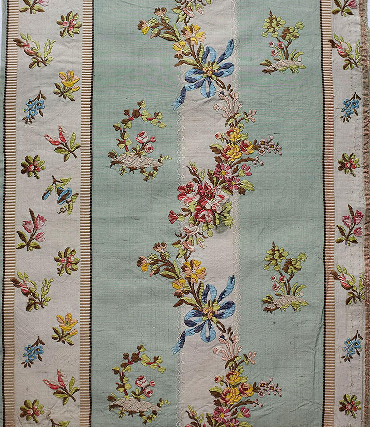 18th Century Silk Lampas Fragment - Blue Bows