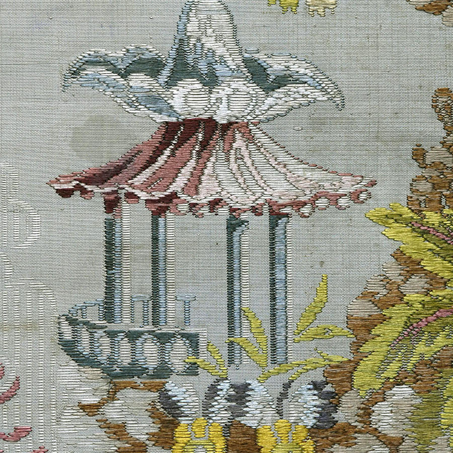18th Century Silk Lampas Fragment with Pagoda