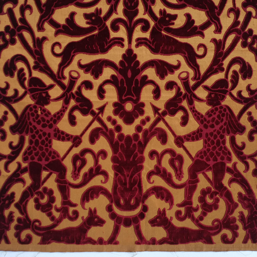 19th Century French Silk Cut Velvet Panel circa 1850