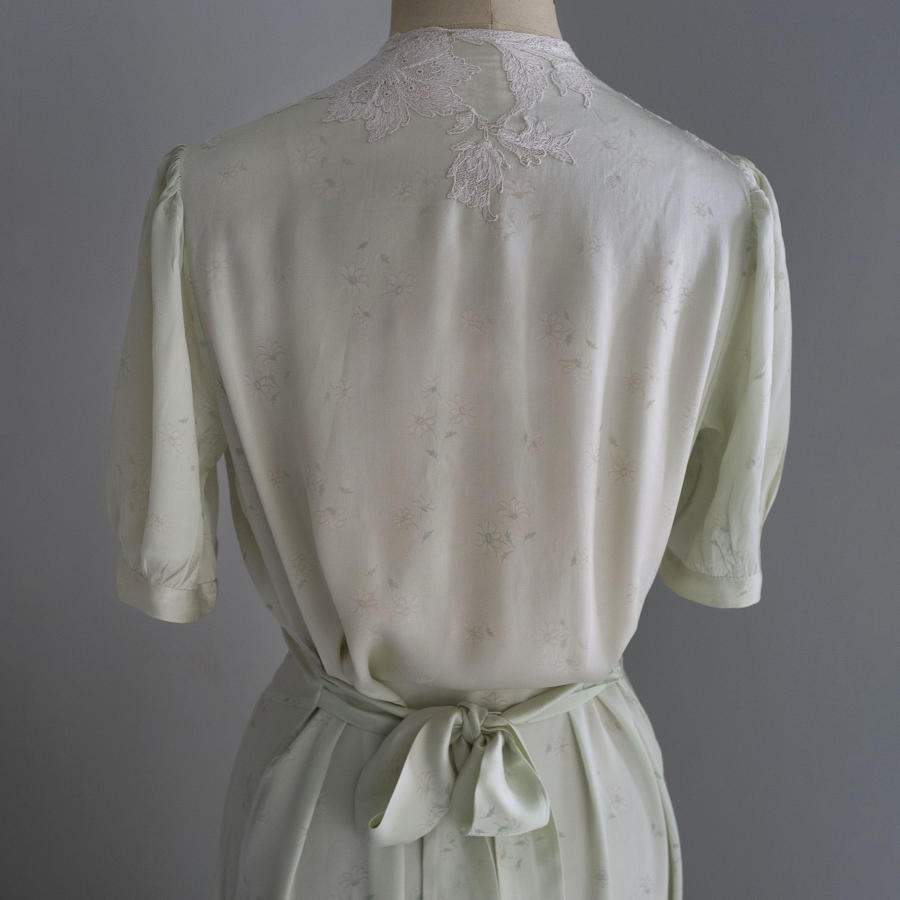 1940s French Silk Satin and Lace Nightdress