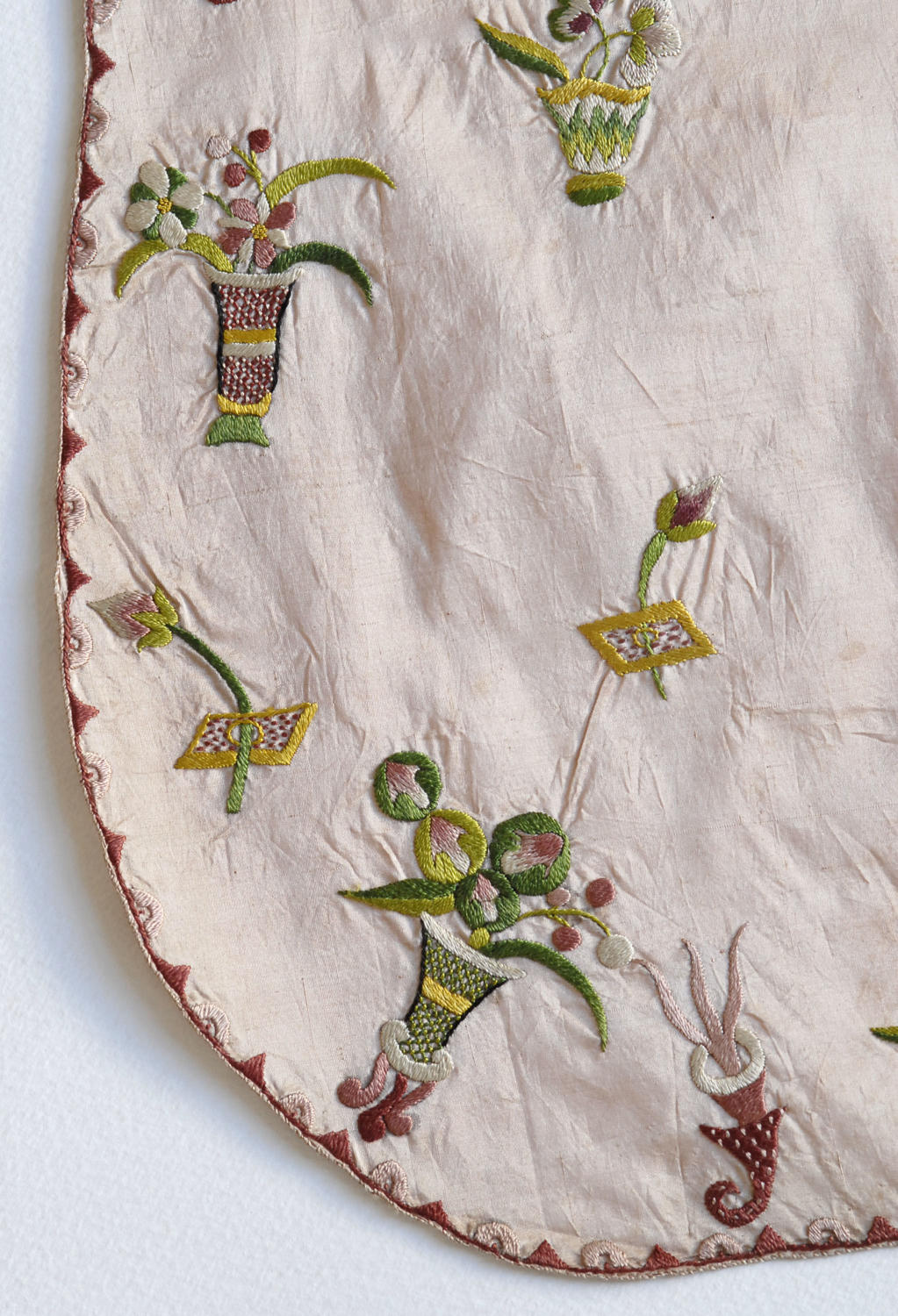 18th Century Embroidered Silk Apron with provenance