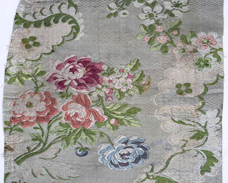 18th Century Brocaded Lampas Silk Fragment