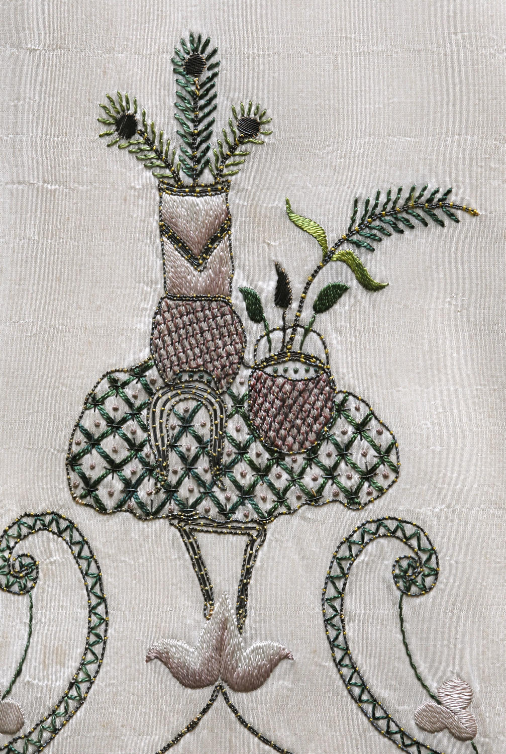 18th Century Silk Embroidered Apron with provenance