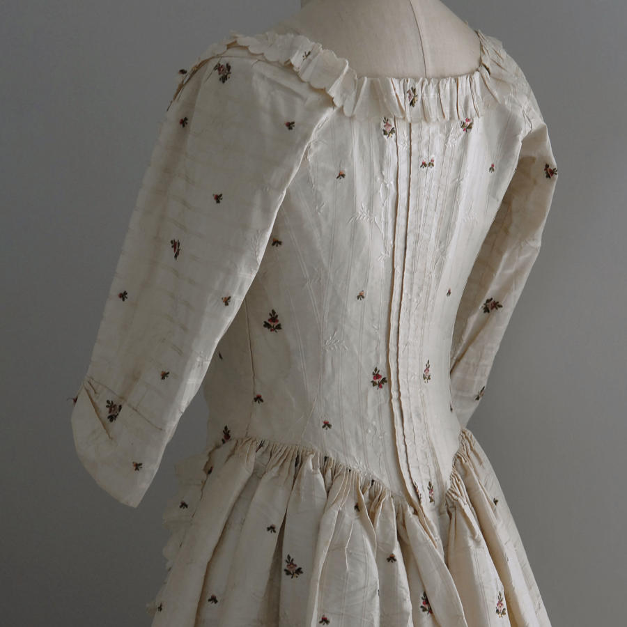18th Century Cream Sprigged Silk Dress, circa 1780