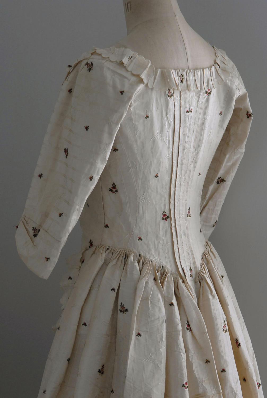 18th Century Cream Sprigged Silk Dress, circa 1780