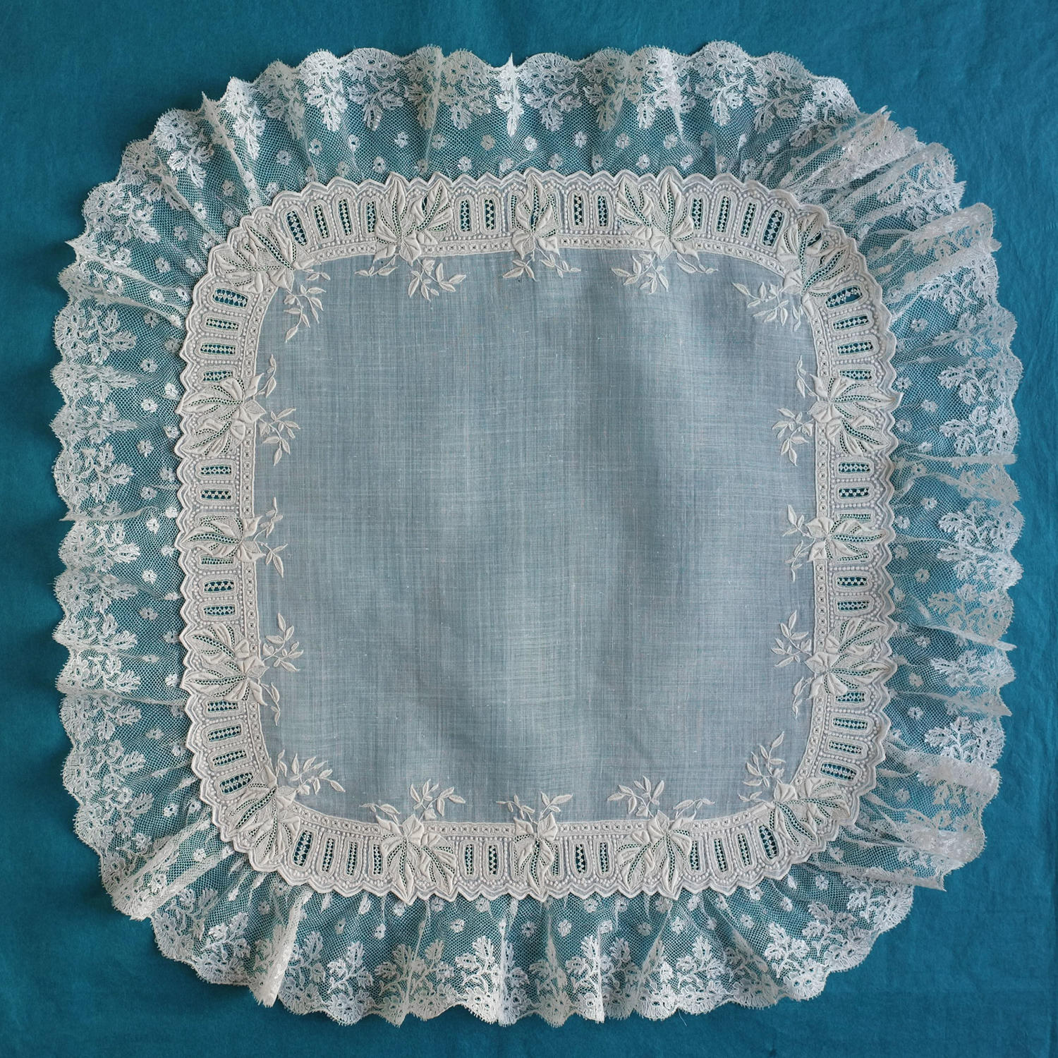 19th Century French Whitework and Mechlin Lace Handkerchief