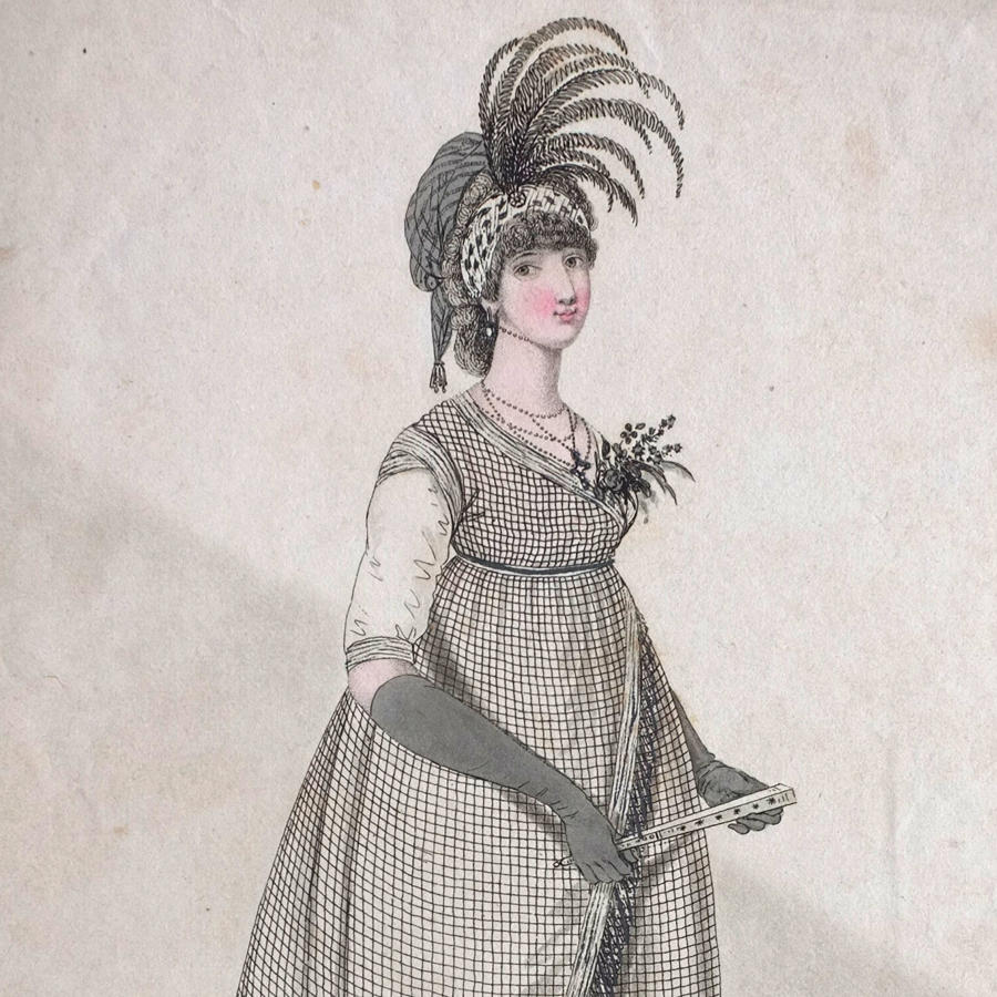 Heideloff Gallery of Fashion Hand Coloured Engraving - 1798