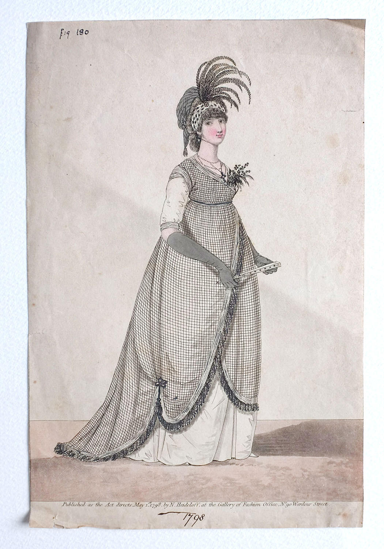 Heideloff Gallery of Fashion Hand Coloured Engraving - 1798