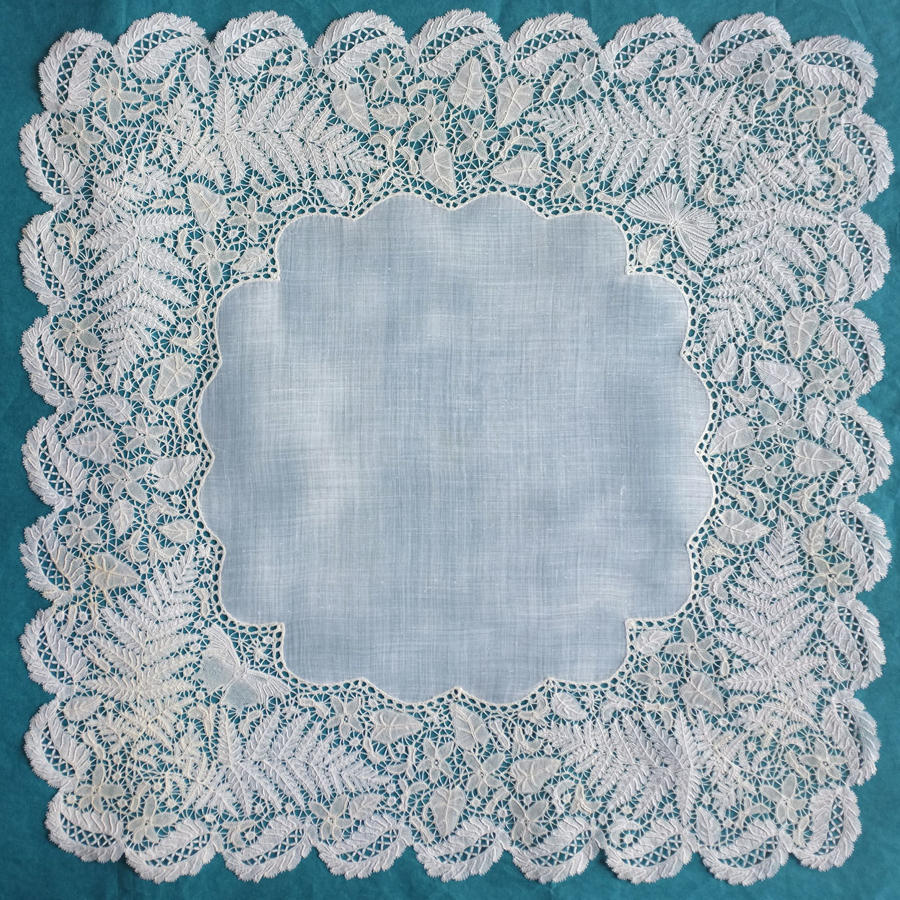 Honiton Lace Handkerchief with Ferns and Butterflies