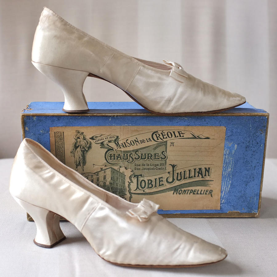 Pair of Tobie Jullian 1920s Silk Shoes in original box