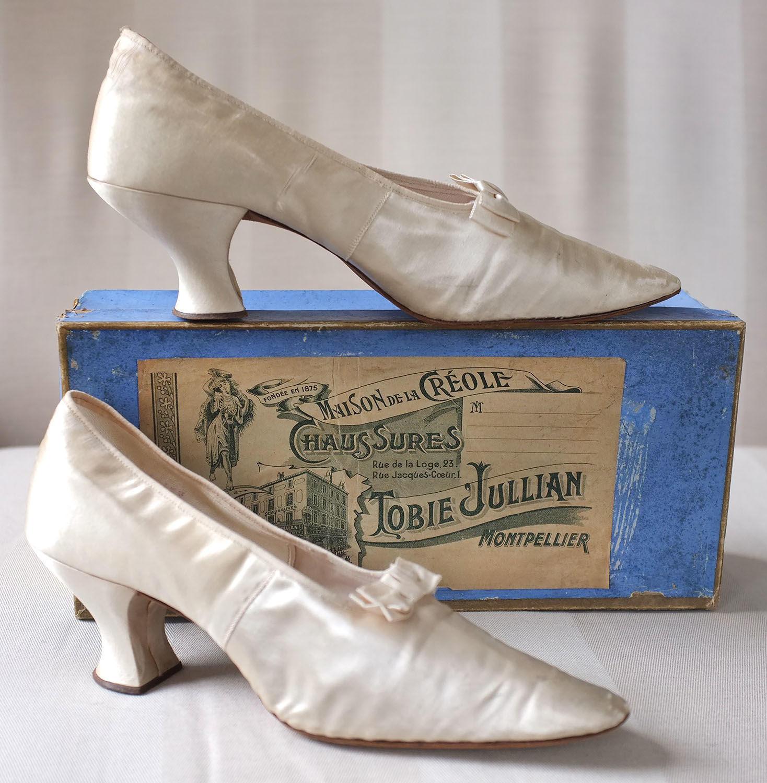 Pair of Tobie Jullian 1920s Silk Shoes in original box