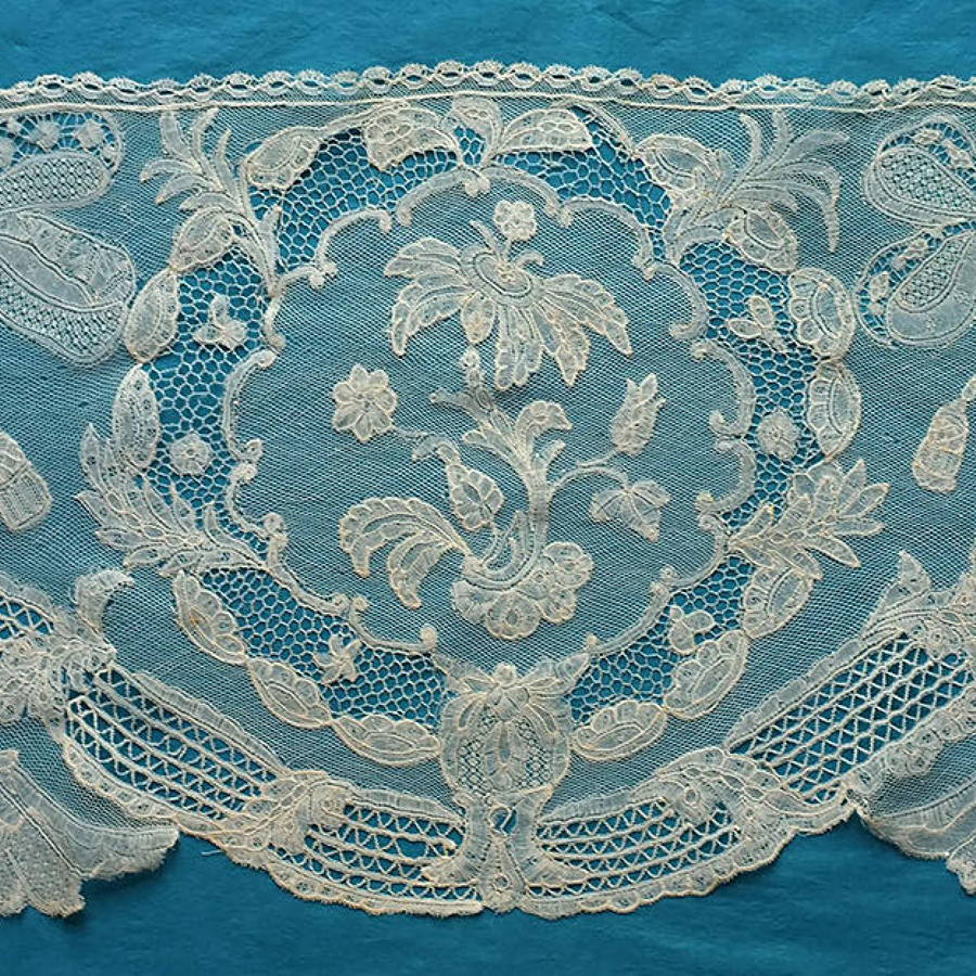 18th Century Brussels Bobbin Lace Panel, with Provenance