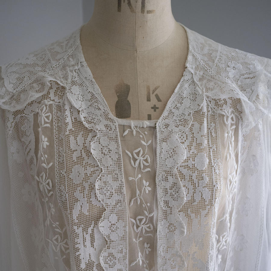 White Cotton Tulle and Filet Lace Blouse