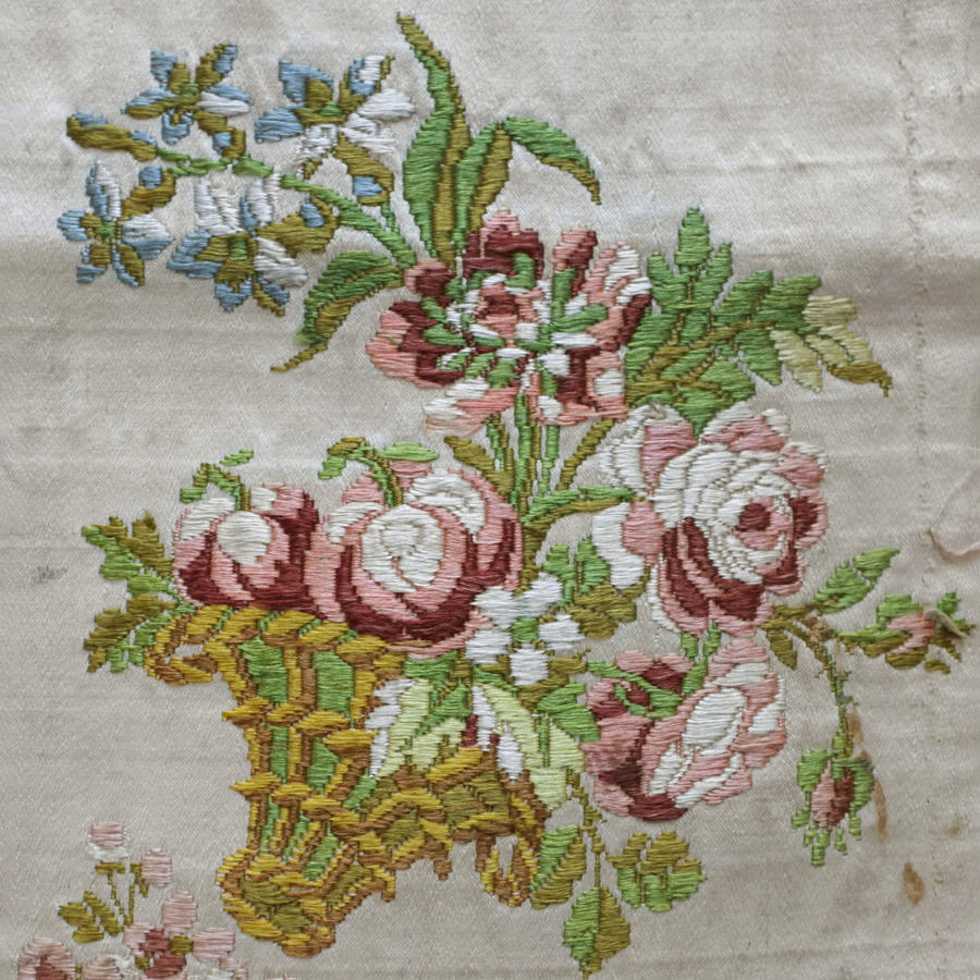 Fragment of 18th Century Lampas Silk Satin