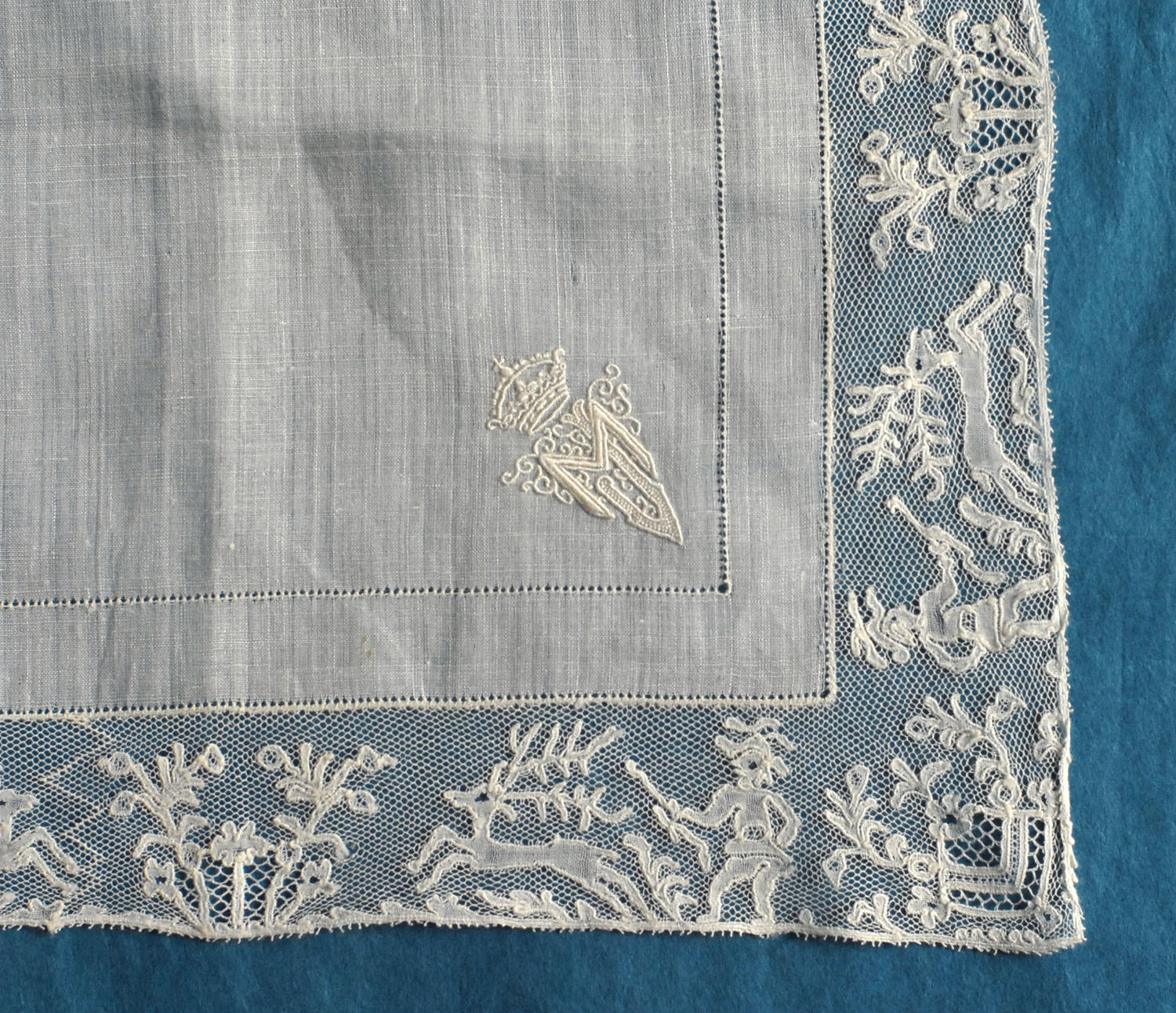 19th Century Mechlin Lace Handkerchief with Royal Monogram