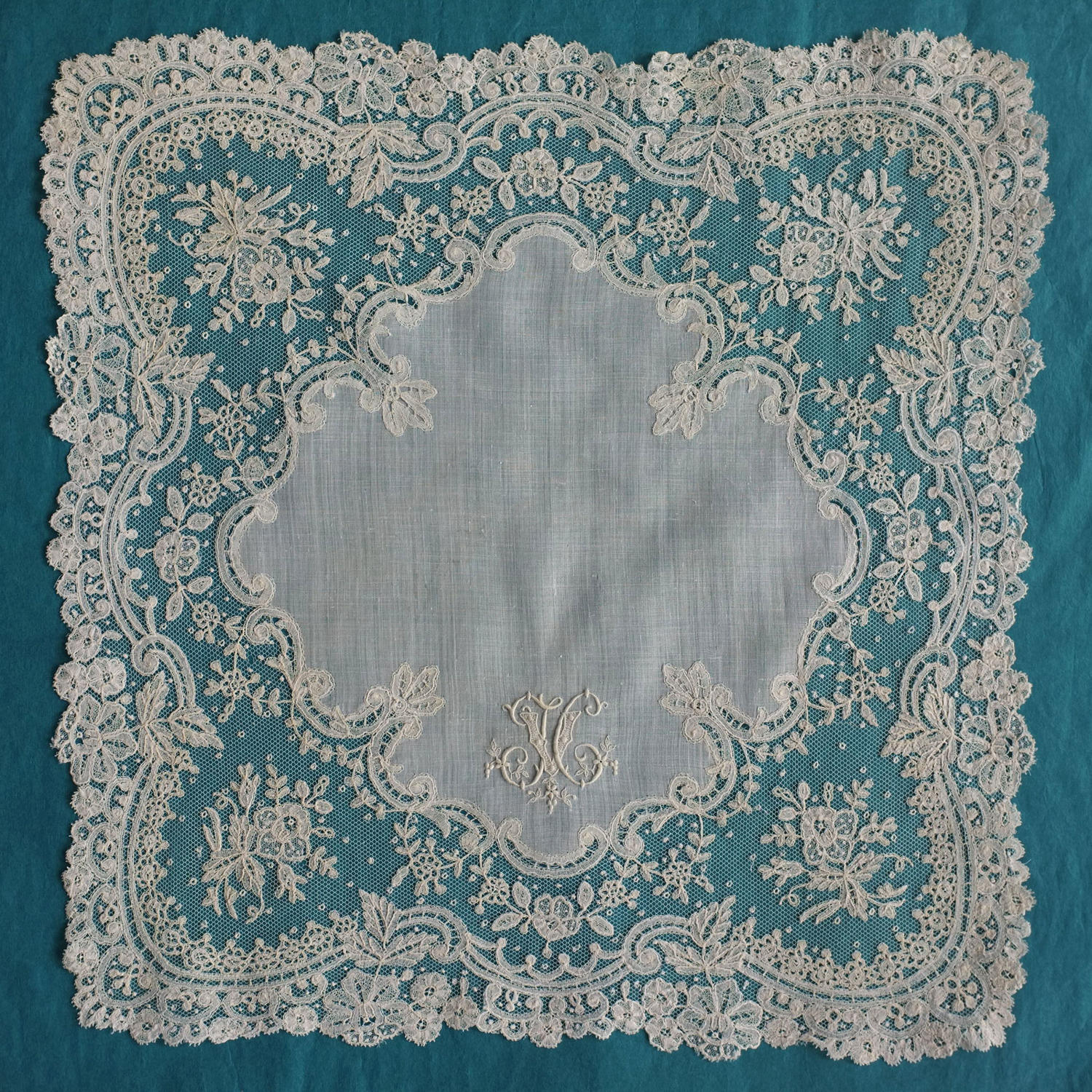 Brussels Applique Lace Handkerchief with Monogram