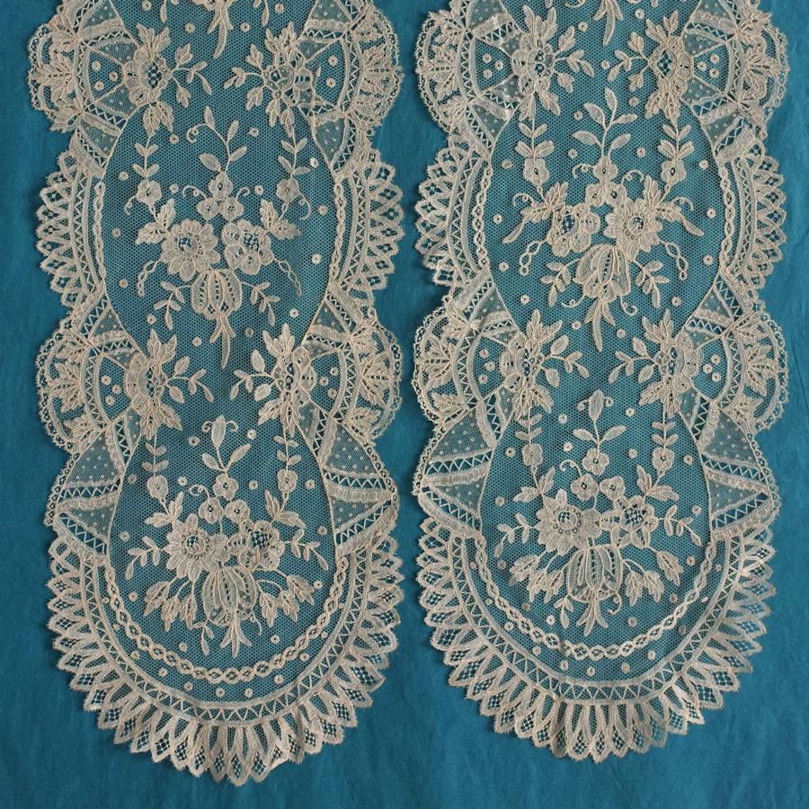 19th Century Brussels Applique Lace Lappet