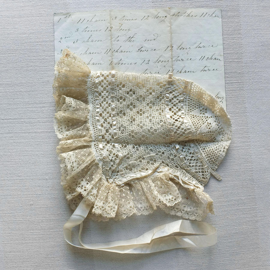 19th Century Crochet Lace Baby Bonnet with Handwritten Pattern