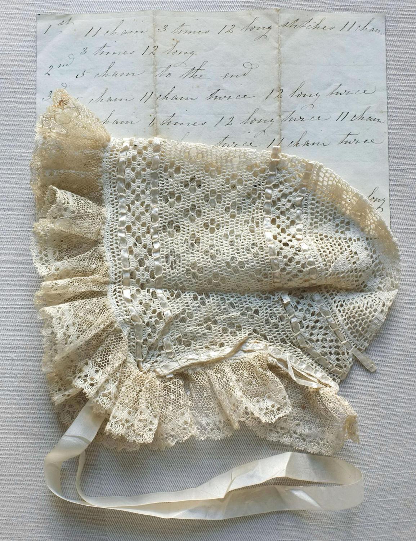 19th Century Crochet Lace Baby Bonnet with Handwritten Pattern
