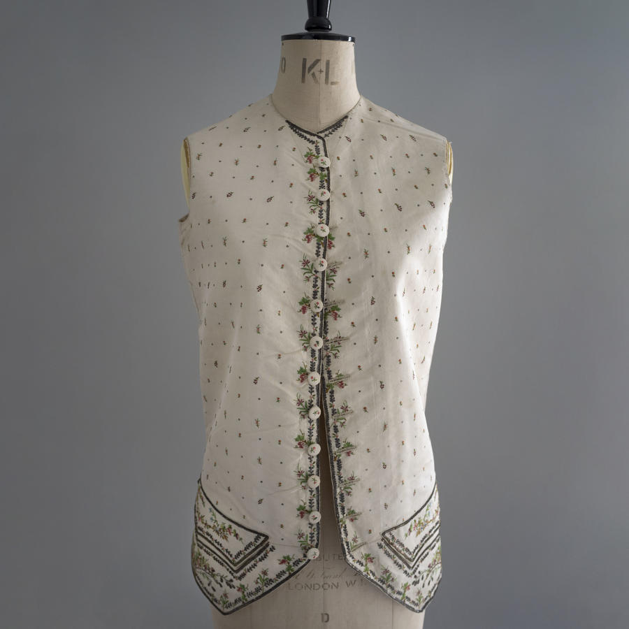 Antique 18th Century Silk Embroidered Man's Waistcoat c 1780
