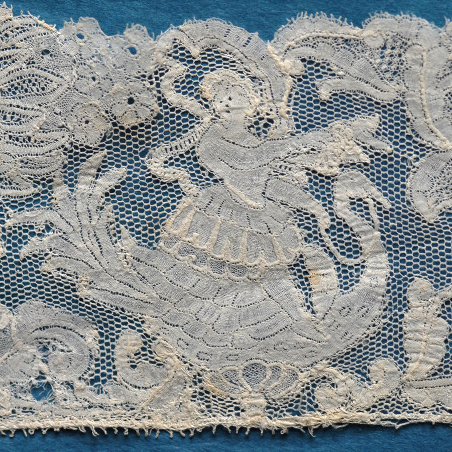 18th Century Figurative Brussels Bobbin Lace Border