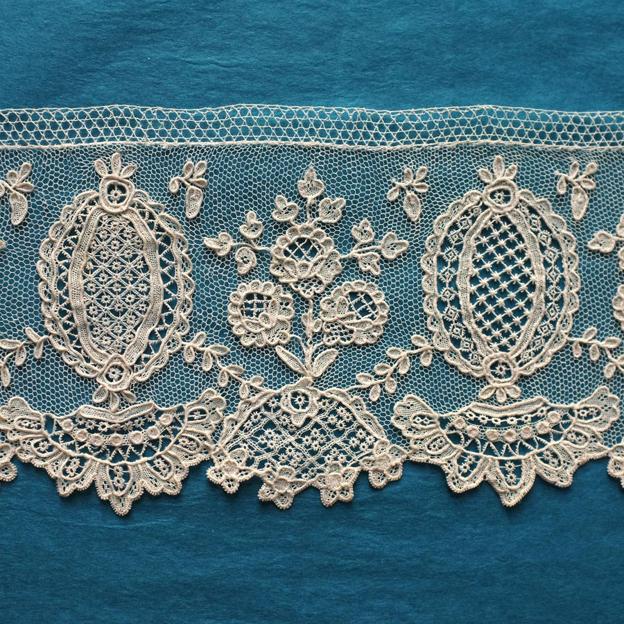 19th Century Alencon Needle Lace Border