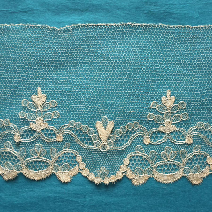 19th Century Silk Blonde Lace Border