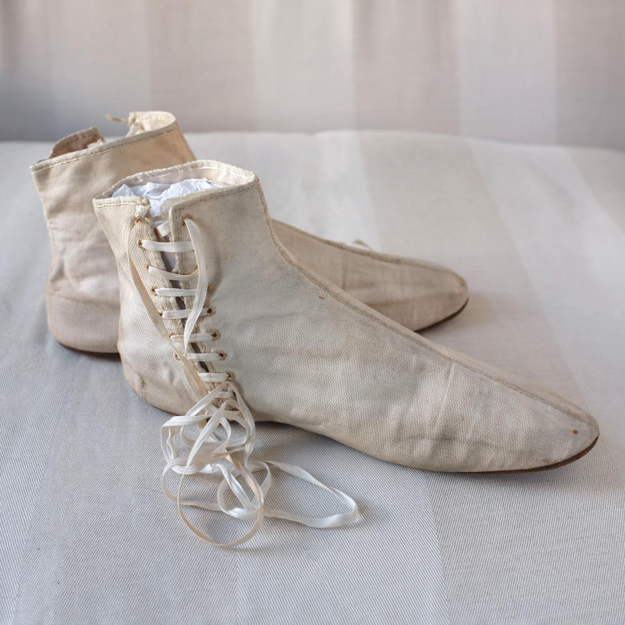 White Cotton Lace Up Boots circa 1820