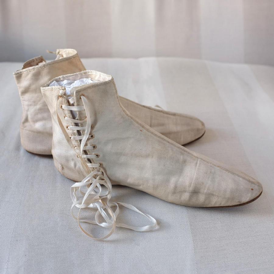 White Cotton Lace Up Boots circa 1820