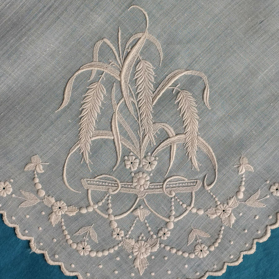 19th Century Embroidered Whitework Handkerchief with Wheat Ears