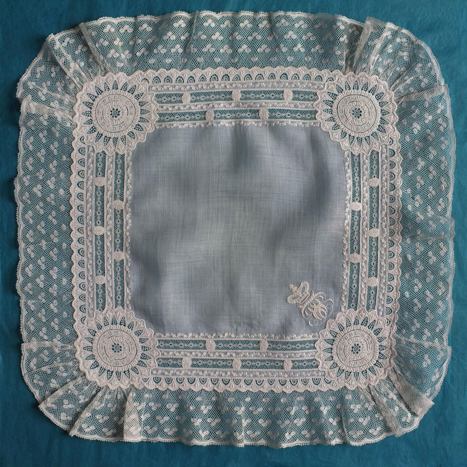19th Century Whitework Handkerchief with Valenciennes Lace & Crown