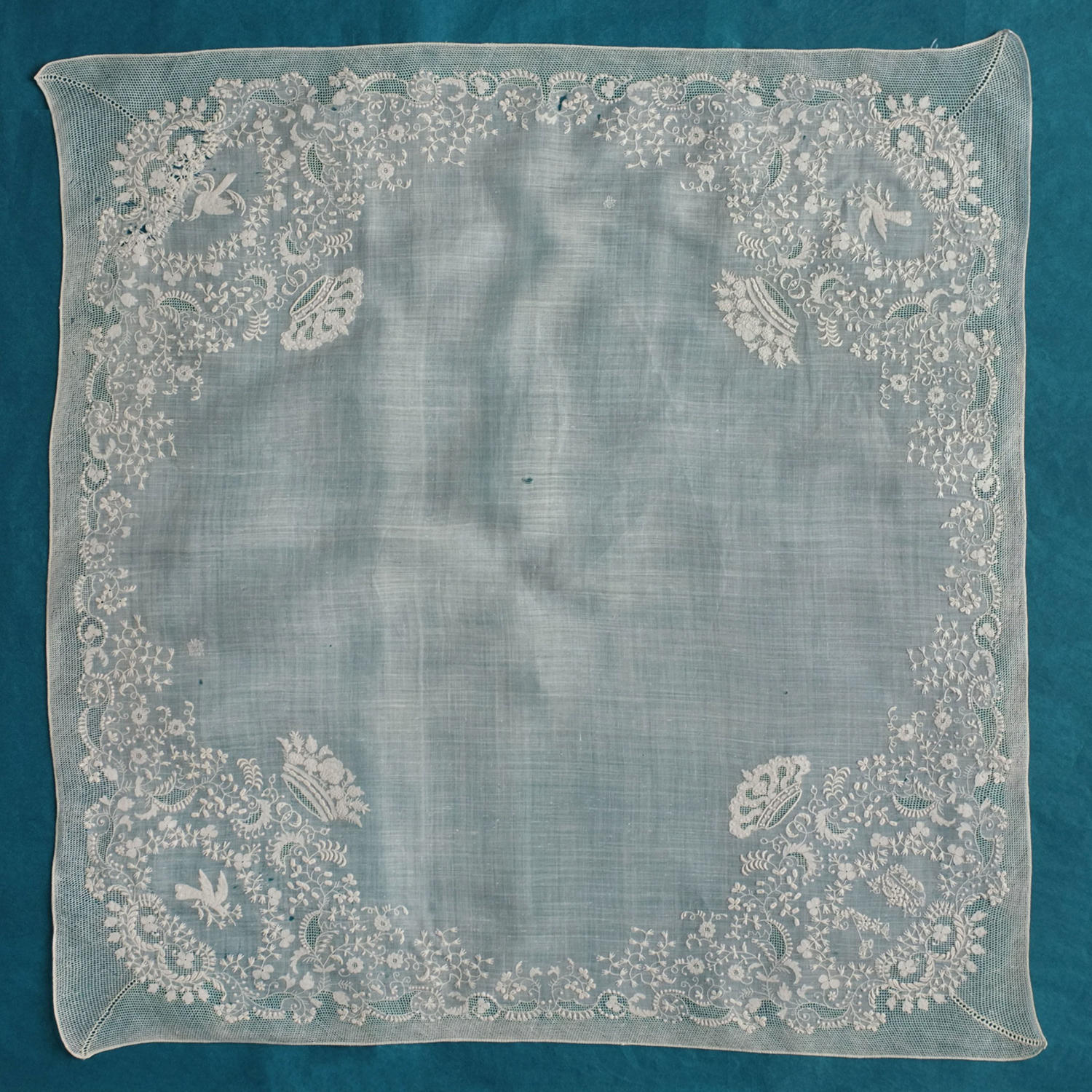 19th Century Whitework Handkerchief with Monogram, Birds and Crowns