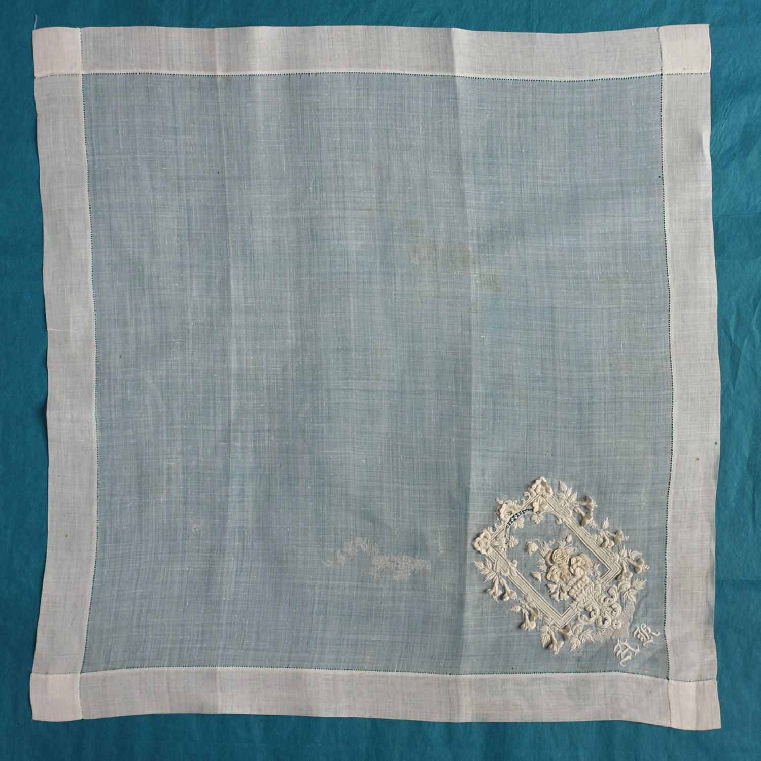 Late 19th Century Swiss Embroidered Raised Whitework Handkerchief
