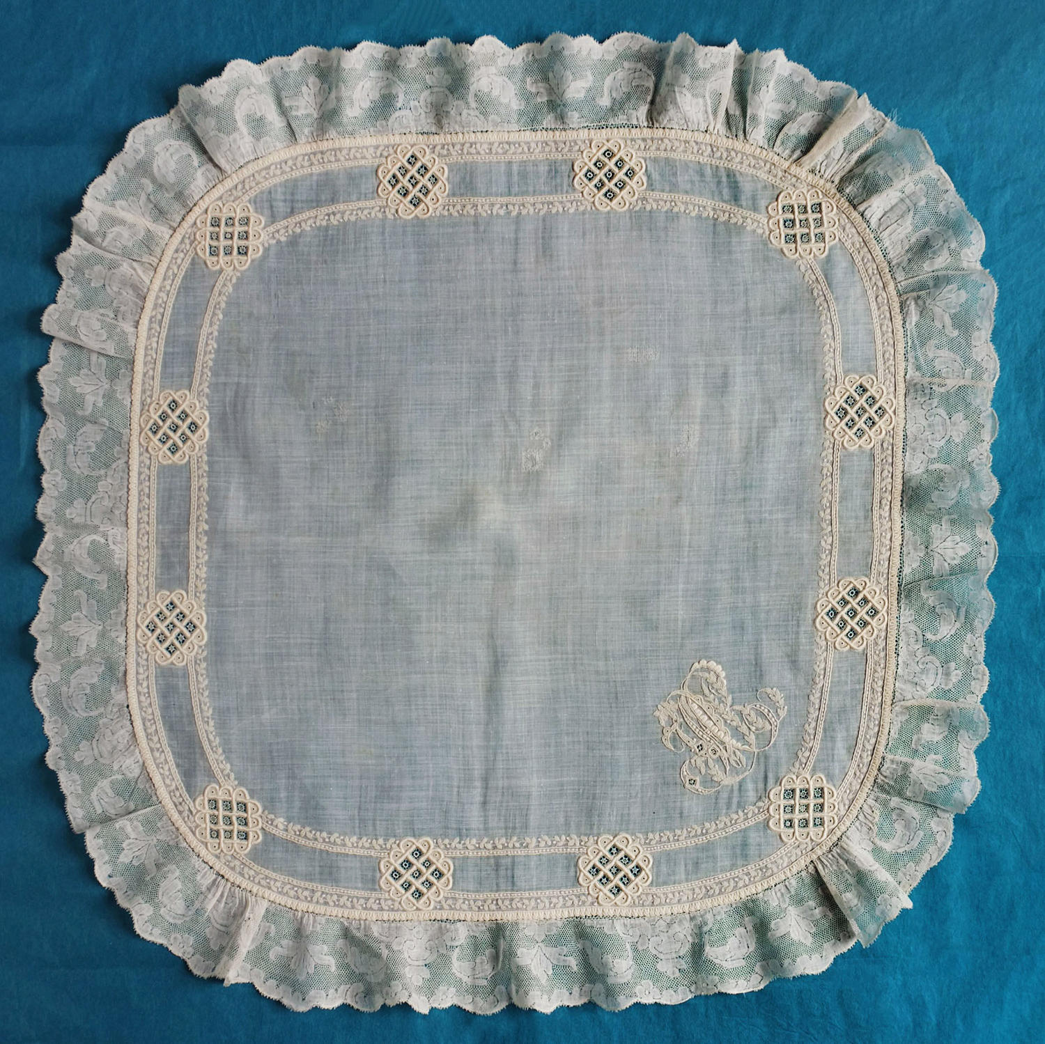 19th C. Whitework Handkerchief with 18th C. Valenciennes Lace Border