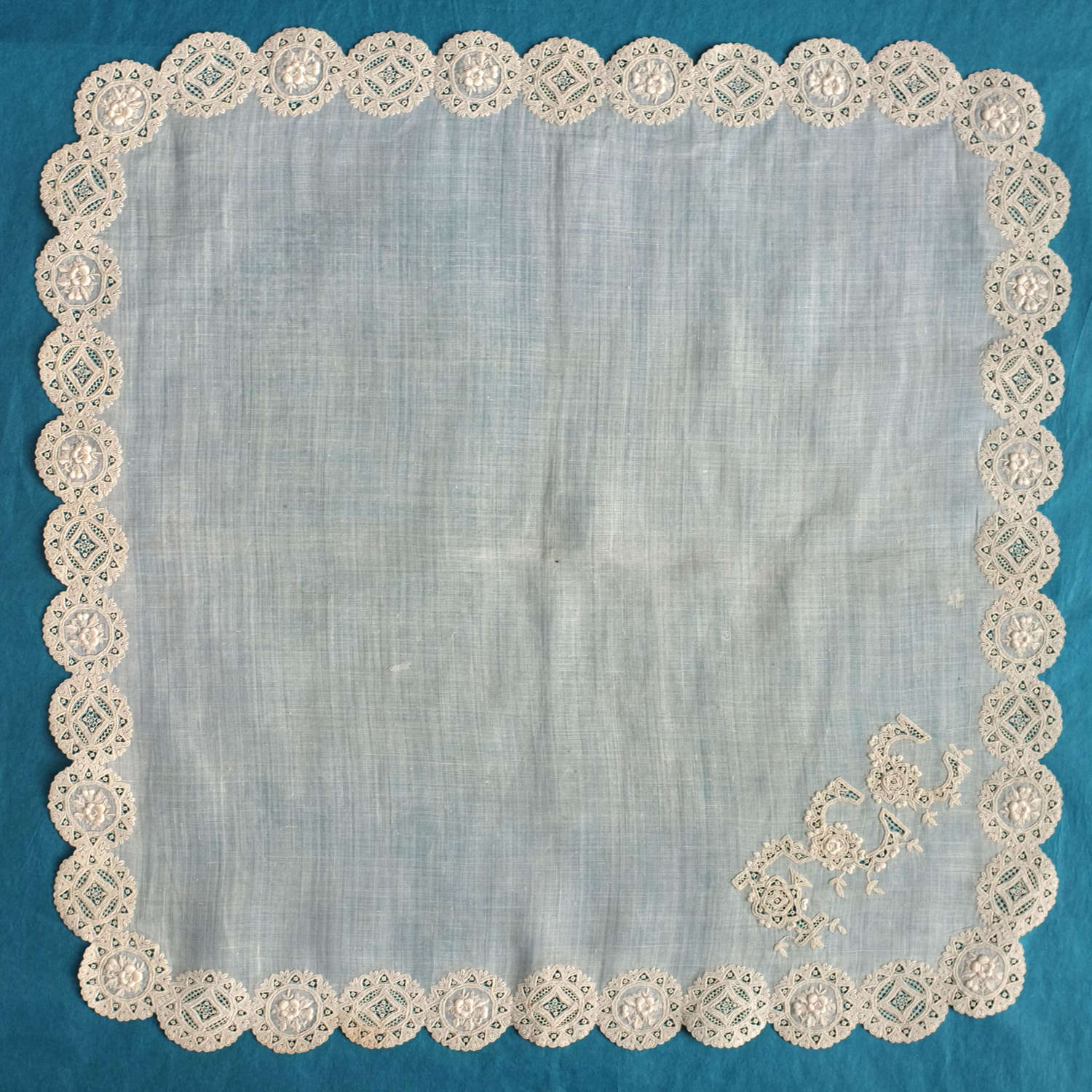 19th Century Whitework and Needle Lace Handkerchief with FCC Monogram