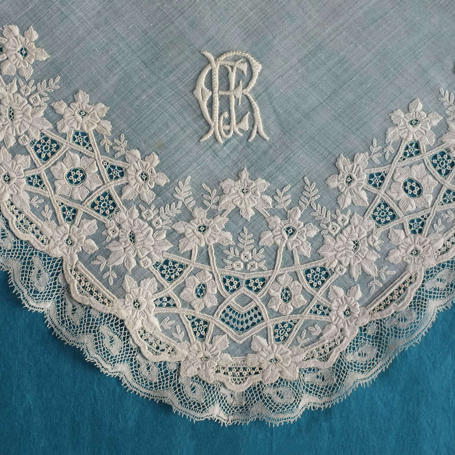 19th Century Flower Embroidered  Handkerchief with Lace Border
