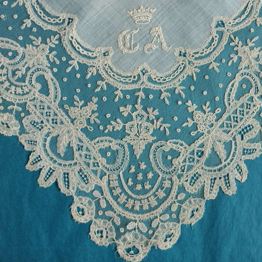 19th Century Brussels Lace Handkerchief with Coronet and Monogram