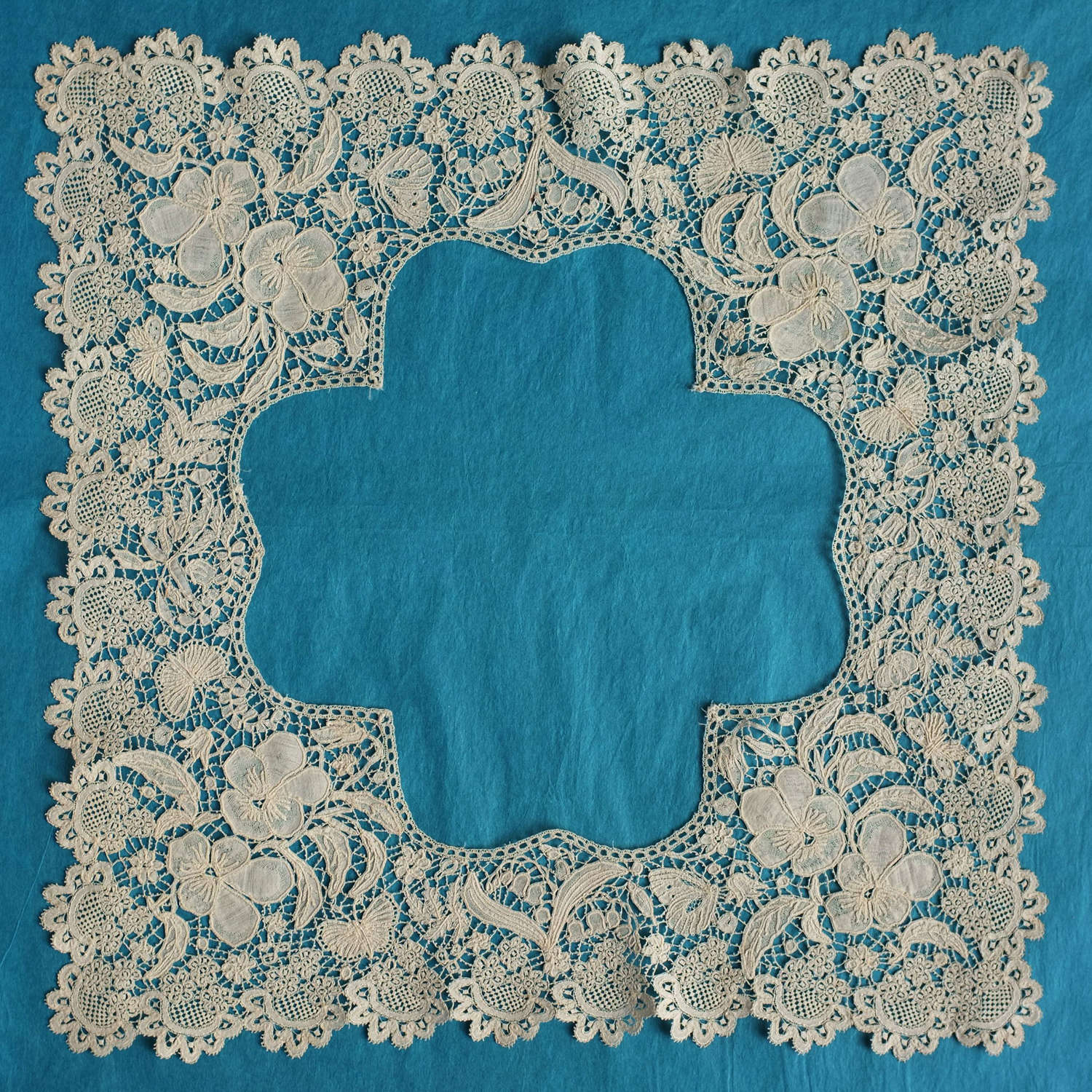 19th Century Honiton Lace Handkerchief Border with Butterflies
