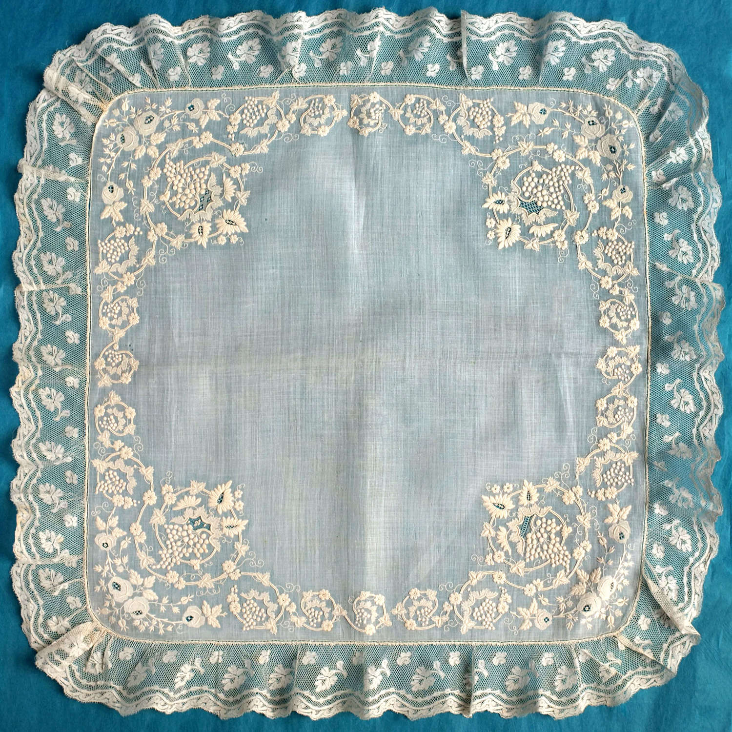 19th Century Embroidered Handkerchief with Vines & Grapes