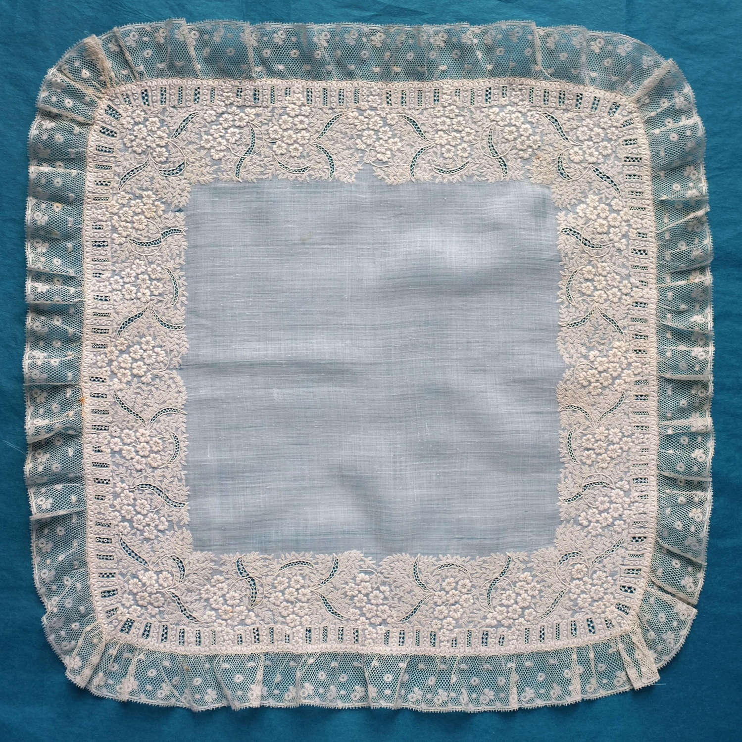 19th Century Embroidered Handkerchief with Flower and Leaf Border