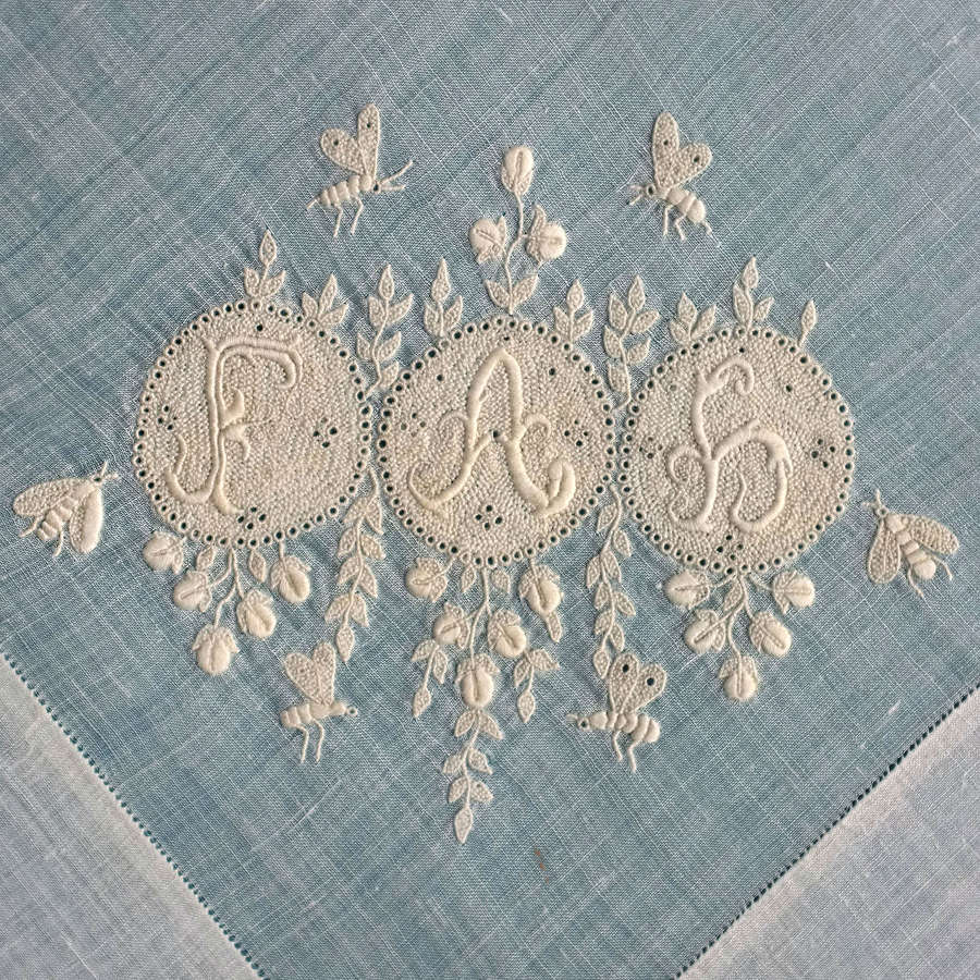 19th Century Handkerchief with Monogram in Art Nouveau Style with Bees