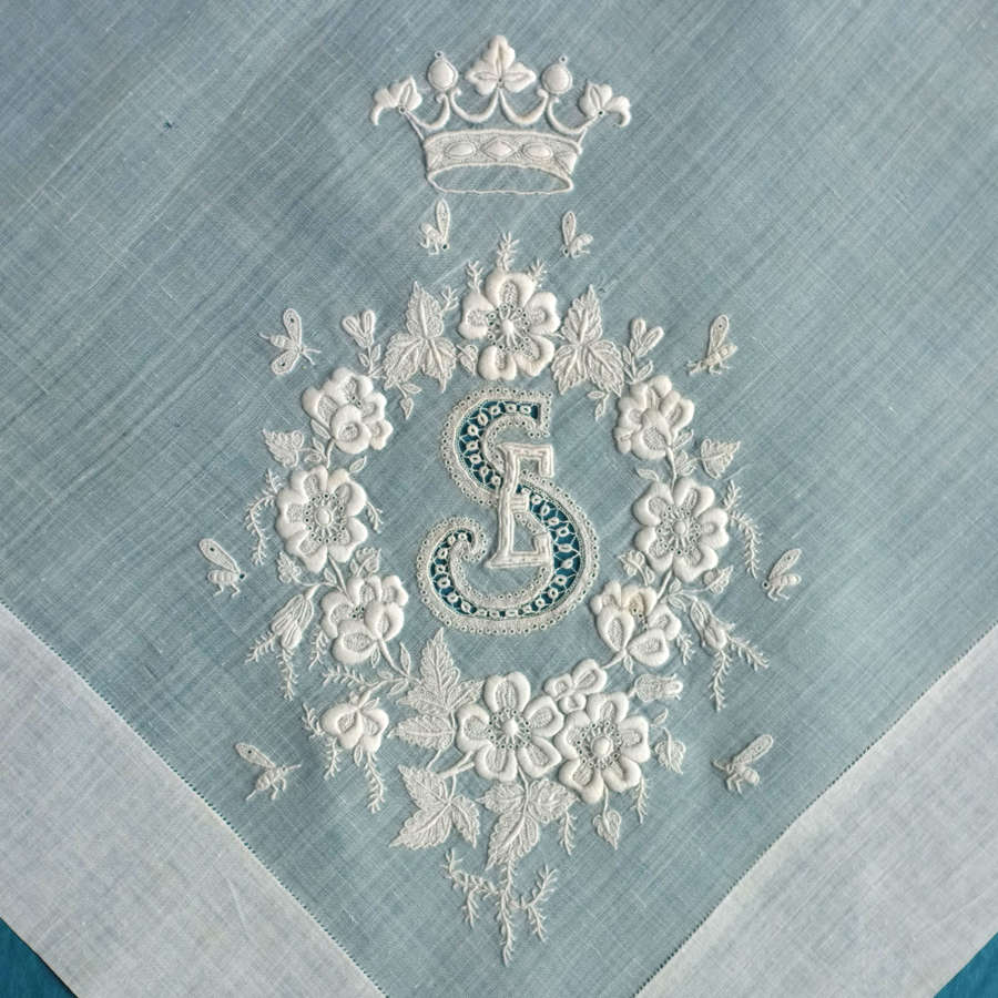 19th Century Embroidered Handkerchief with Monogram, Bees and Coronet