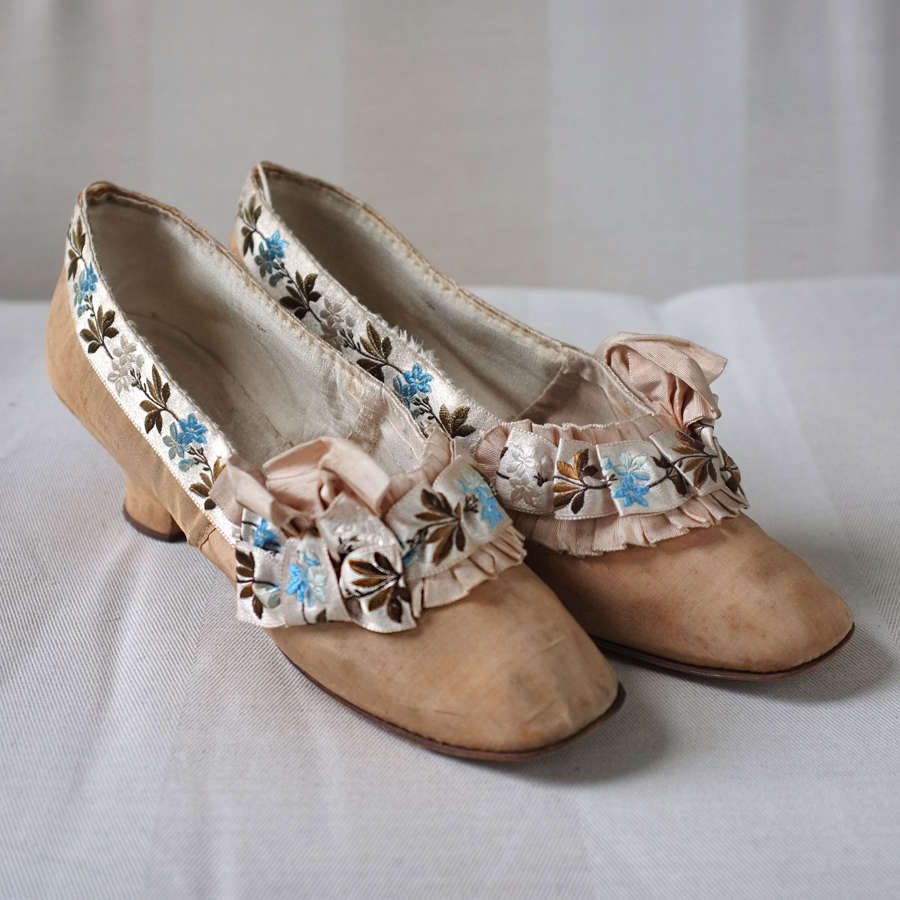 Paris Made Ribbon Trimmed Shoes circa 1880