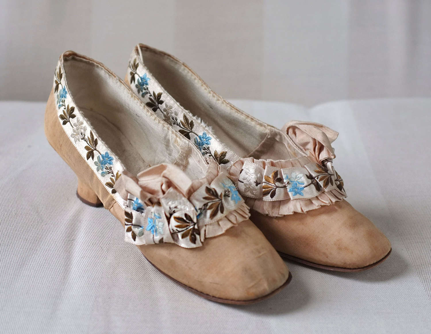 Paris Made Ribbon Trimmed Shoes circa 1880