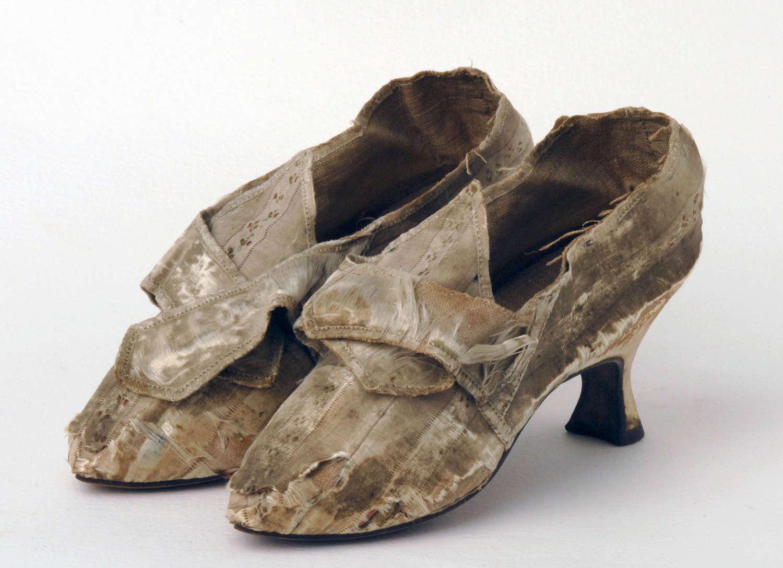 Striped Silk Shoes Circa 1780
