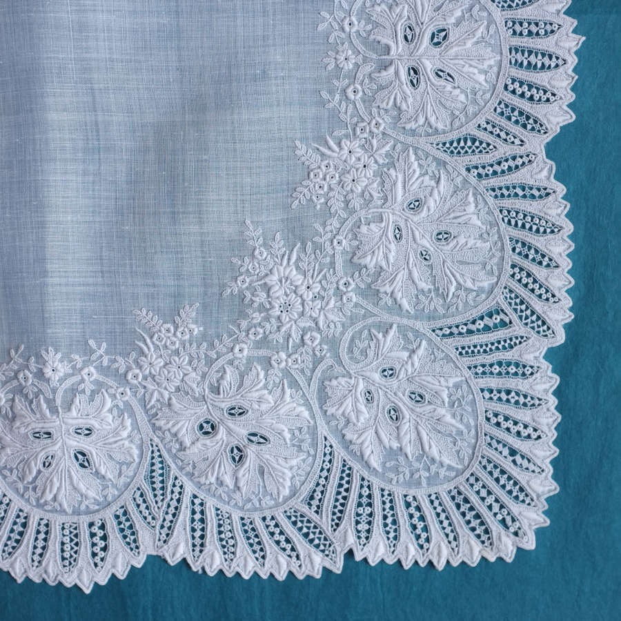 Antique Whitework Embroidered Wedding Handkerchief